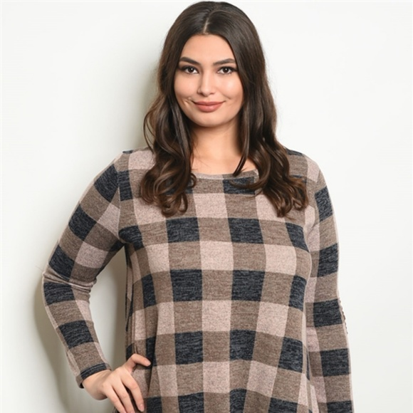 New Junior\'s Cute Boutique Plaid plus size dress